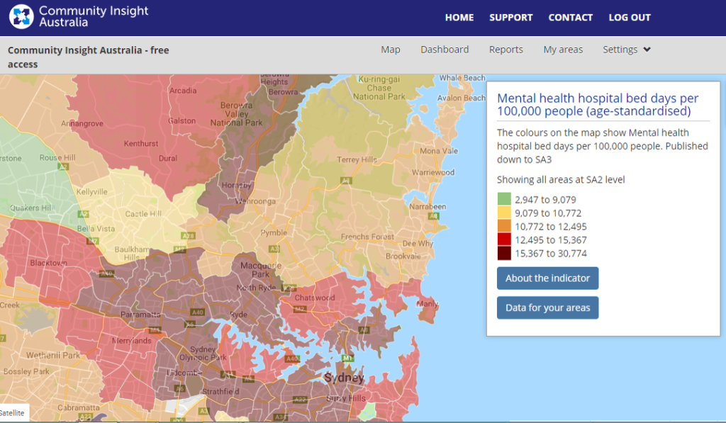 Sydney - mental health hospital bed days per 100,000 people